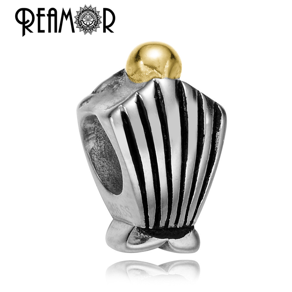 REAMOR Vacuum Gold-color 316l Stainless Steel Shell Marine Life European Large Hole Beads Bracelet Jewelry Making Wholesale