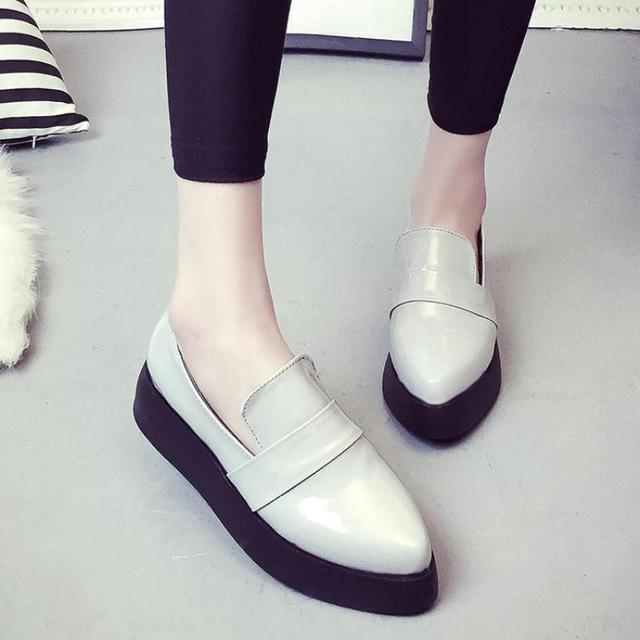 Платформы Creepers Oxfords Обувь для Женщин Повседневная Острым Носом Женщин Chaussure Femme Винтаж Британский Мокасины Zapatos Mujer