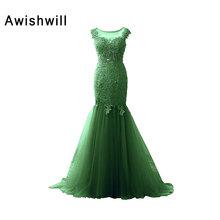 See Through Back Long Mermaid Formal Evening Dresses 2018 Robe de Soiree Cap Sleeve Lace Tulle Green Prom Dress Party Gowns