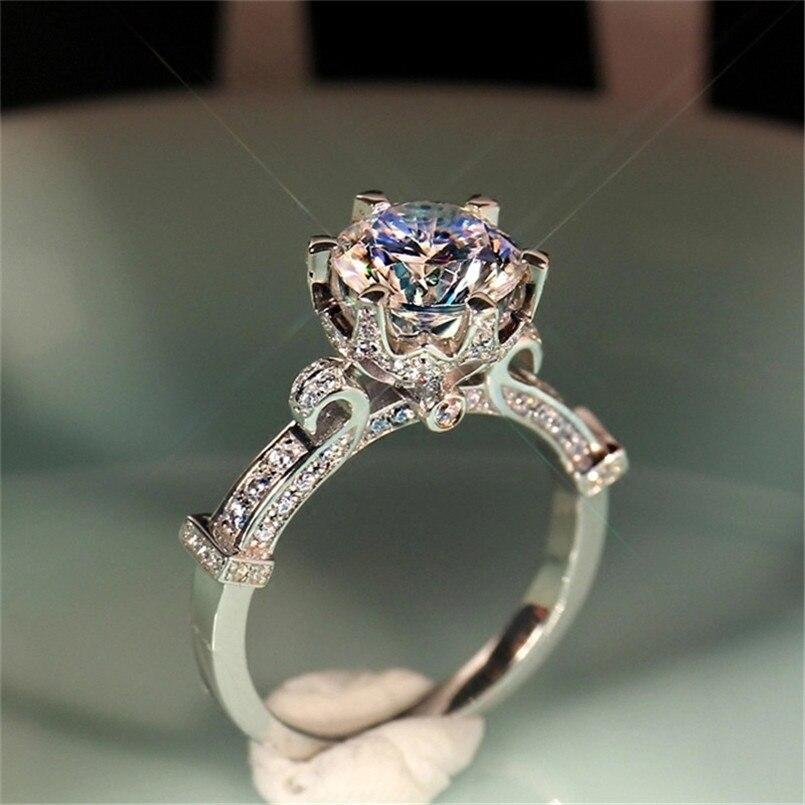 100% 925 Sterling Silber Braut Hochzeit Bijouterie Ringe Für Frauen Weinglas Ring Zirkonia Charms Engagement Edlen Schmuck SchüTtelfrost Und Schmerzen