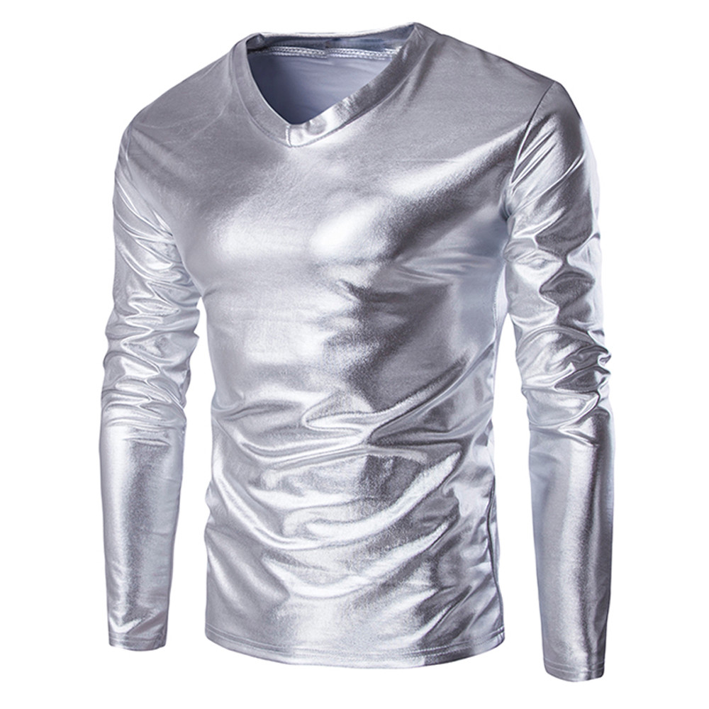 Fashion T Shirt Men Metallic Shiny Wet Look Long Sleeve T