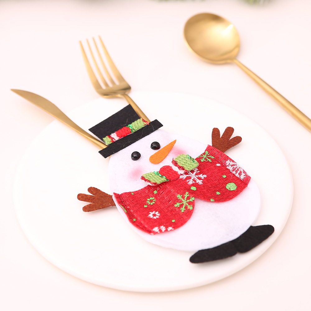3Pcs Kawaii Santa Claus Snowman Elk Knife Fork Bag Christmas Decorations For Home Table Dinner Decor Xmas New Year Decor in Pendant Drop Ornaments from Home Garden