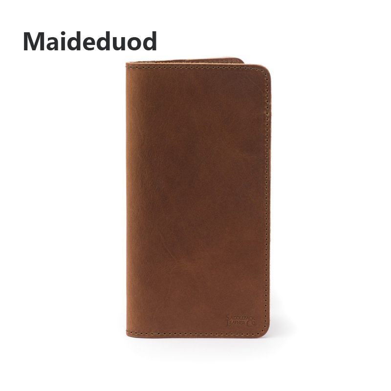 Maideduod Crazy Horse Leather Passport folder long, multifunctional passport bag, certificate check holder, credit card holder.