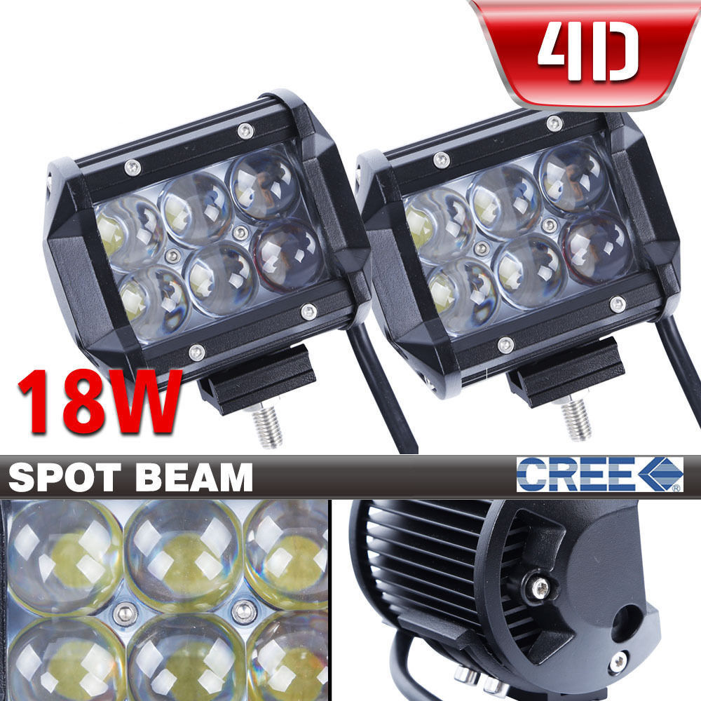 2PCS 4D Fish Eye Lens 4inch 18w LED Light Bar for Offroad SUV Boat 4x4 4wd Jeep ATV Auto Driving Lights 4D
