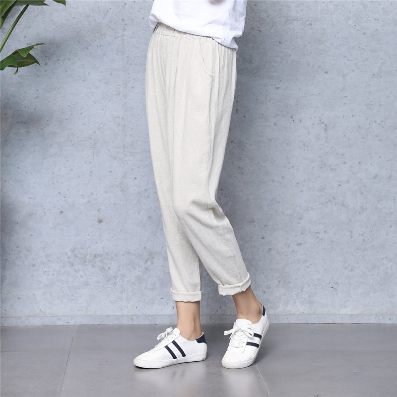 Spring Summer Cotton Hemp Casual Pants Thin Air Air Flax Nine Trousers Big Size Loose And