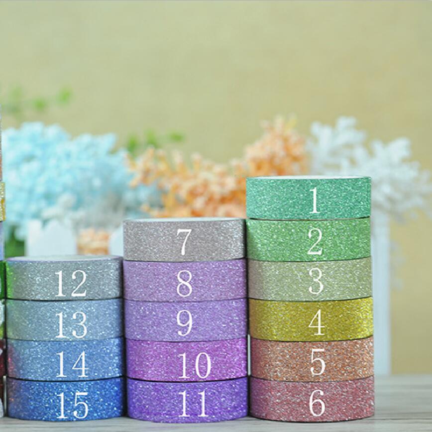 17 colors Hot sales 3M Glitter Washi Sticky Paper Masking Adhesive Tape Label Craft Decorative DIY