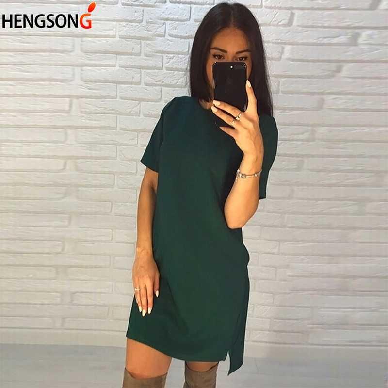 2018 Новое Женское летнее платье с круглым вырезом и коротким рукавом, однотонное Повседневное платье с асимметричным подолом, винтажное прямое мини-платье Vestidos