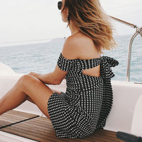 VITIANA Women Short Beach Dress Summer Female White Black Plaid Short Sleeve Slash Neck Strapless Sexy