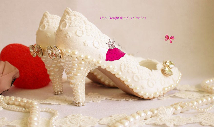 Luxury formal 8cm High heel dress shoe sparkling Pearl diamond White wedding shoes handmade Lace wedding shoe pearl shoes