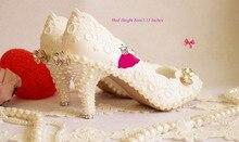 Luxury formal 8cm High heel dress shoe sparkling Pearl diamond White wedding shoes handmade Lace wedding shoe pearl shoes