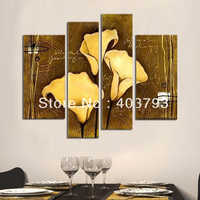 4pc modern Wall Art  Oil Painting On Canvas abstrat painting art  brown lily flower no frame  free shipping