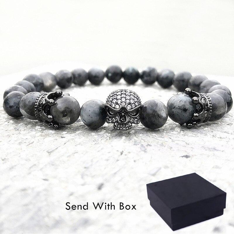 2018 männer CZ Schädel Charme Armbänder Indien Labradorit 8mm Natürliche Stein Licht Perlen Armband Für Männer Handgemachte Armbänder