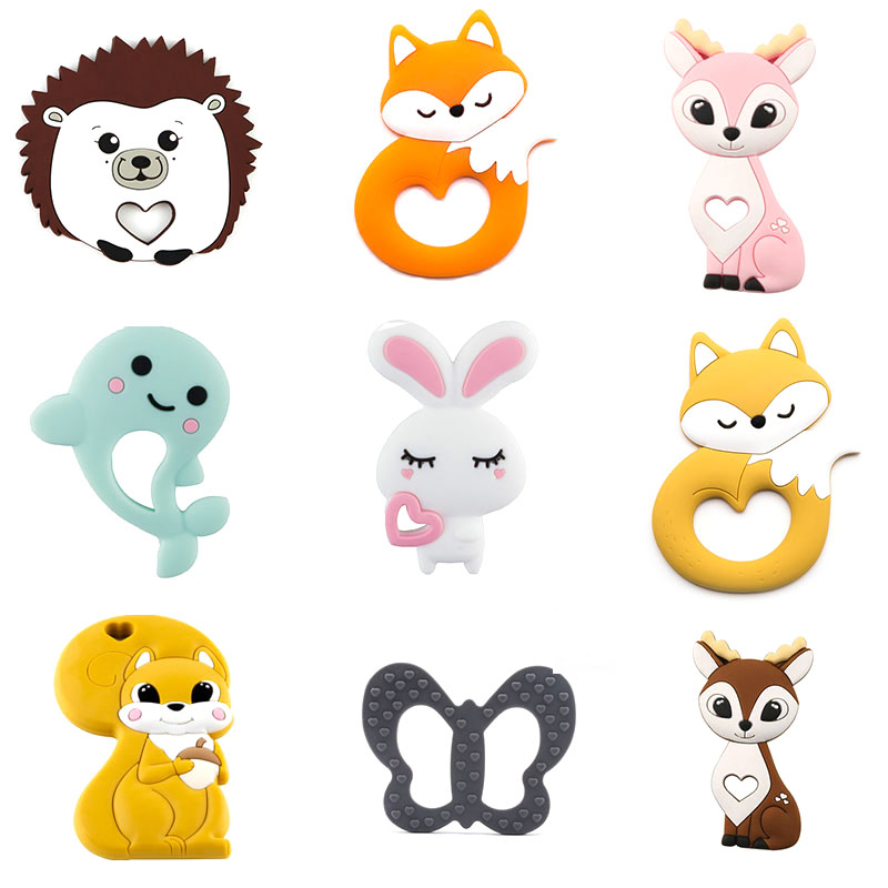 Baby Teething Toy 5PC Silicone Rodents Teether Rabbit Animals Fox Chew Biter Silicone Beads DIY Nursing Accessories Gift Toys
