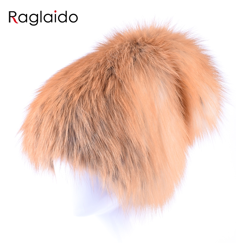 Raglaido brand fox fur hats pompom cap women winter real fur hat skullies russian snow beanies Genuine pure natural cap LQ11165 pop winter raccoon fur hats real 15cm fur pompom beanies cap natural fur hat 1pc