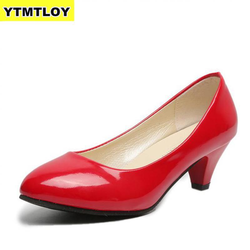 נשים של עור Med עקבים חדש באיכות גבוהה נעלי קלאסי שחור ולבן משאבות עבור משרד גבירותיי לבן עקבים גבוהים אדום סקסי עקבים