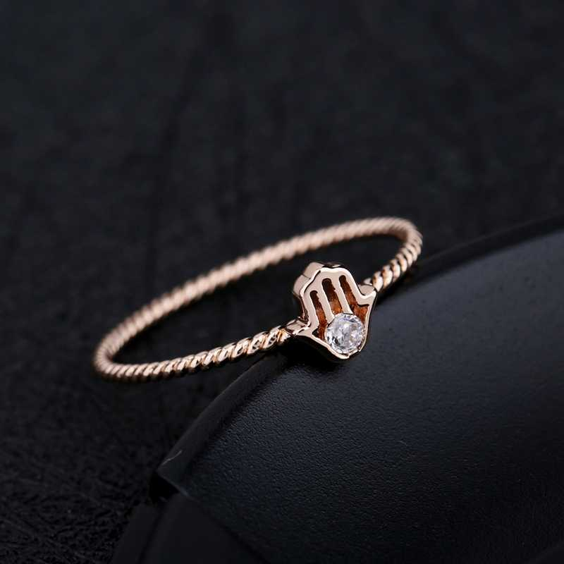 MIGGA délicat Zircon cubique unique pavé Fatima anneau à main pour les femmes couleur or Rose mode Bague en cristal bijoux