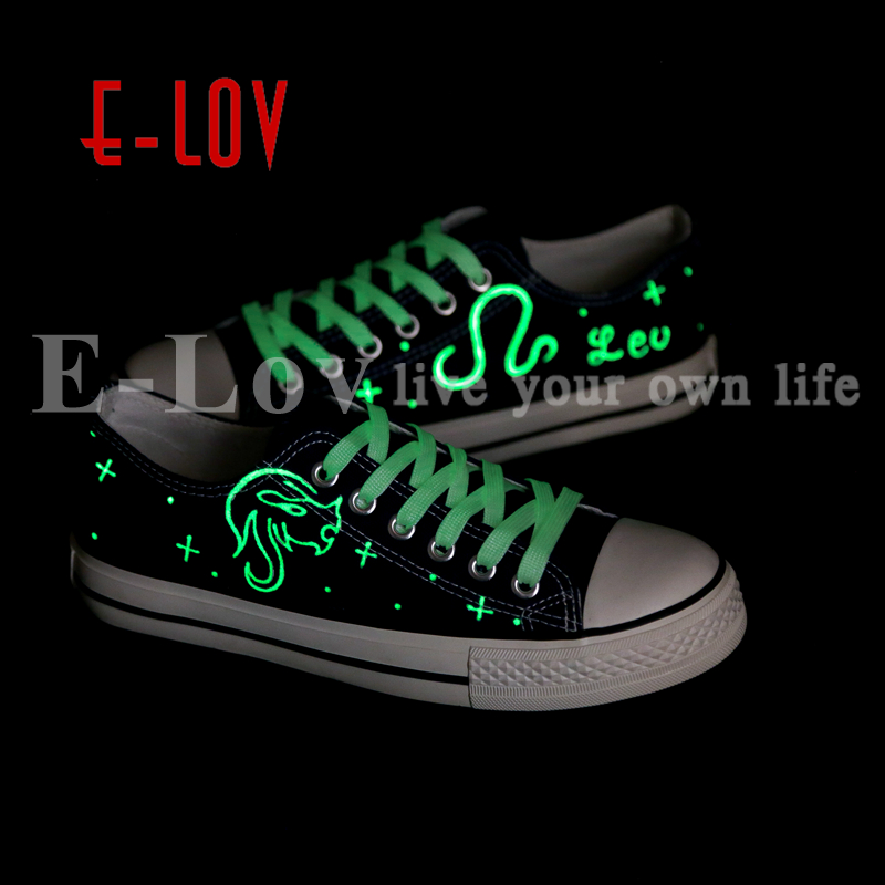 E-LOV Unique Hand Painted Graffiti Canvas Shoes Design Luminous Leo Horoscope Casual Shoes For Lovers zapatillas mujer e lov hand painted graffiti horoscope canvas shoes custom luminous graffiti gemini casual flat shoes women zapatillas mujer