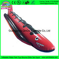 Red and black inflatable banana boat shark like tube for adults