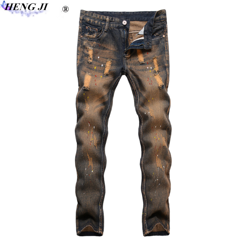HENG JI Male straight tube worn jeans, repair, beggar hole, European version of long, small jeans, high quality, free shipping