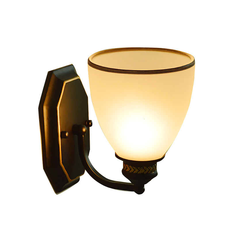 American Retro Metal Aisle Lamp Modern Simple Glass Lampshade Wall Sconce Balcony Study Bedroom Lighting Fixture E27 Bulb WL284 vemma acrylic minimalist modern led ceiling lamps kitchen bathroom bedroom balcony corridor lamp lighting study