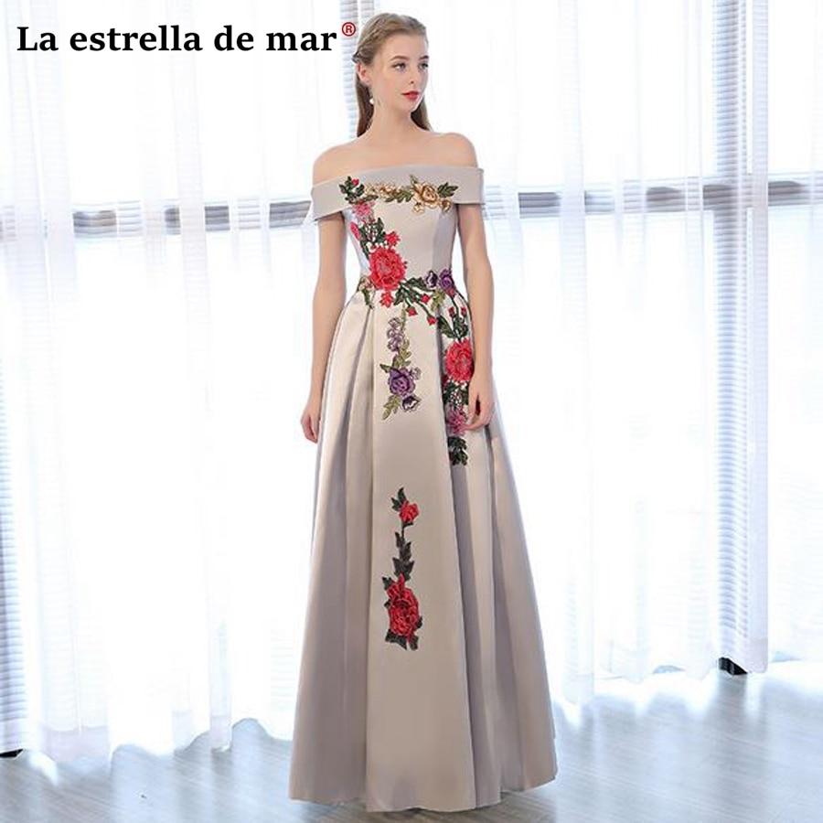 Vestido invitada boda largo2018 new satin embroidery Boat Neck cap sleeve silver   bridesmaid     dresses   pretty   bridesmaid   gown