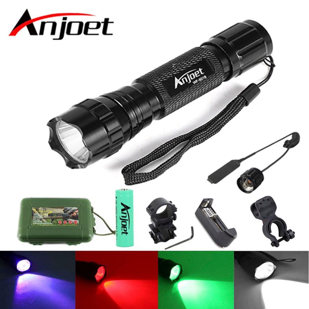 Anjoet Sets Tactical Flashlight XM-L T6/Q5 LED 1-Mode Multi-Color White/Green/Blue/Red Light Torch use 18650 Battery For Hunting alonefire rx2 rwg cree q5 led red white green light multi function railway signal light flashlight torch lamp for 3xaaa or 18650