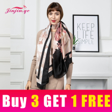 Jinjin.QC New Scarf Women Chiffon Material Floral Print detail Casual Print 180*90cm Fashionable Lightweight Scarves недорого