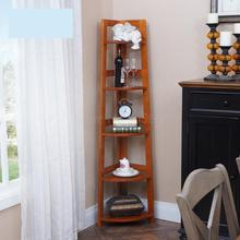 Solid wood bedroom corner bookcase simple living room tripod rack corner corner storage rack