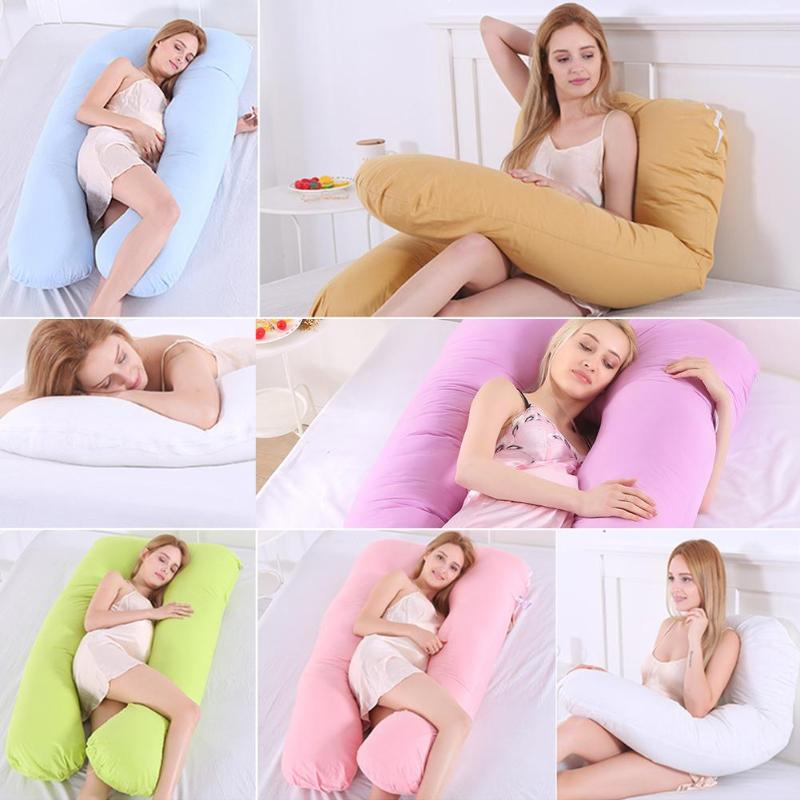 Big U Shape Maternity Pregnancy Baby Pillow Pure Cotton Sleeper Women Slide Cushion Sleeping Support Pillow For Pregnant Women
