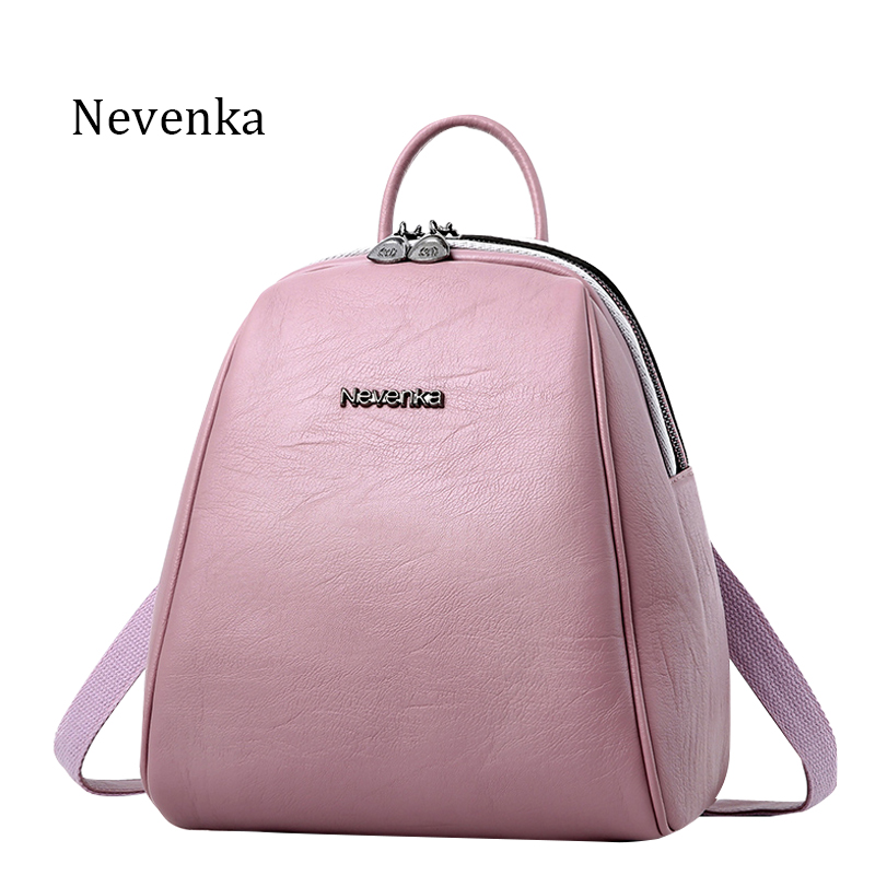 Nevenka New Arrival Women Backpack Lady Backpack PU Leather Brand Bag Zipper Bags Fresh ShoulderBag Softback
