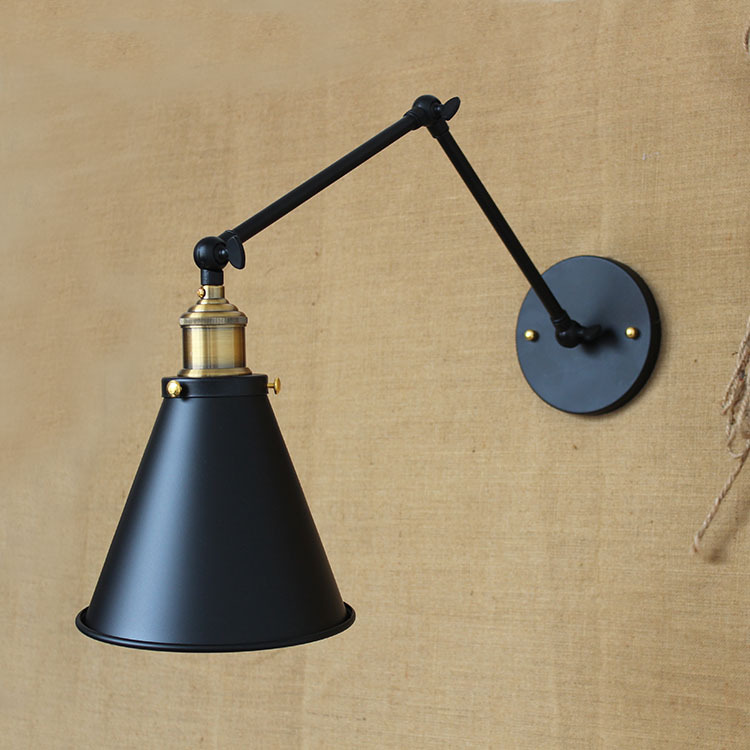 ФОТО E27 Retro Loft Industrial LED Vintage Wall Lamp light Wall Sconce Adjustable Handle Metal Rustic Loft Light Bedside Lamp WWL079
