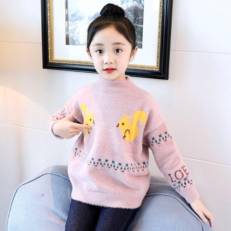 Mädchen Kleidung Erfinderisch 2019 Frühen Frühling Neue Mädchen Pullover Koreanische Nette Mädchen 7 Stehkragen Warme Samt Bodenbildung Pullover Generation 9 Zu Verkaufen