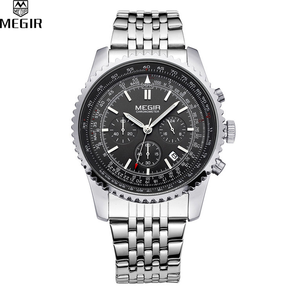 MEGIR Men Chronograph 24 Hours Quartz Charm Brand Watch Full Steel Analog Display Business Waterproof Watches