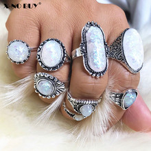 New 8pcs/Set Rings Bohemia Oval Colorful Opal Stone Knuckle Midi Finger Rings Set for Women Retro Silver Ring Set Jewelry new 13pcs set bohemia retro metal purple crystal knuckle midi fingers rings set for women geometric vintage rings sets jewelry