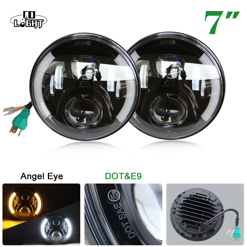 CO LIGHT 1 Pair 80W Led Headlights DRL Round 7 Inch High Low Beam H4 H13 Headlight for Jeep Wrangler Jk TJ Lada Niva 4x4 7 inch 80w round led headlights high