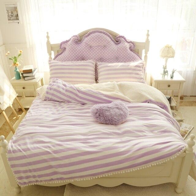 Wit Meisjes Bed.Paars Roze Blauw Wit Streep Meisjes Bed Set Dikke Fleece Winter Warm