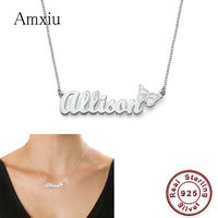 Amxiu Personalized Birthday Gifts Custom 925 Sterling Silver Necklace Engrave Name Butterfly Pendant Necklace For Girls ID Tags