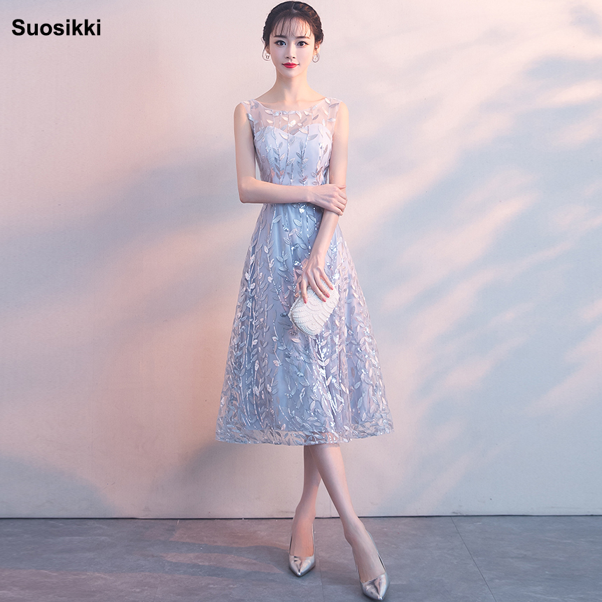 2019 Suosikki Elegant Gray Lace   Prom     Dress   Simple Short Party Formal Gown