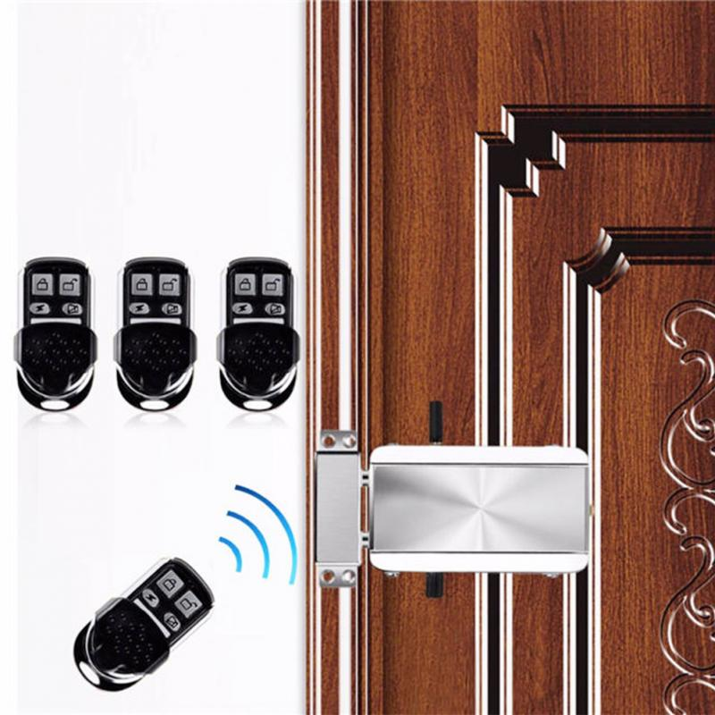 цена Househol Keyless Entry Electronic Remote Door Lock Wireless Invisible Anti-theft Intelligent Lock With 4 Remote Keys в интернет-магазинах