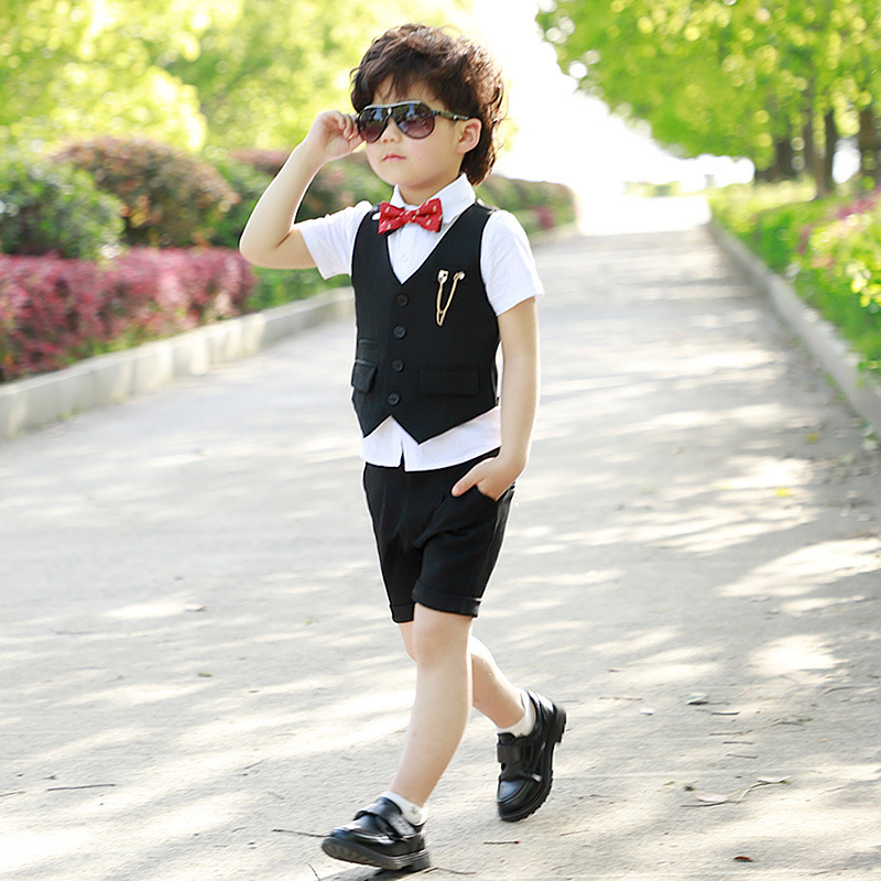 Summer Gentlemen Boys Suits For Weddings Boys Tuxedo Suits Gentlemen Blazer Vest Shorts 4PCS Suit Set H185