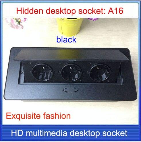 EU plug Tabletop socket /hidden/ Damping spring open Information outlet /Office conference room High grade desktop socket /A16