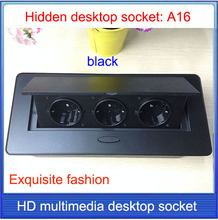 EU plug Tabletop socket /hidden/ Damping spring open Information outlet  /Office conference room High grade desktop socket  /A16
