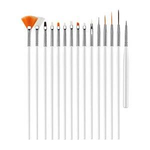 Image 2 - 15 יח\סט ג ל פולני מברשות ורוד כלים ג ל ציור עט נייל כלים נייל מברשת מנקדים ציור ציור עט אמנות ציפורן