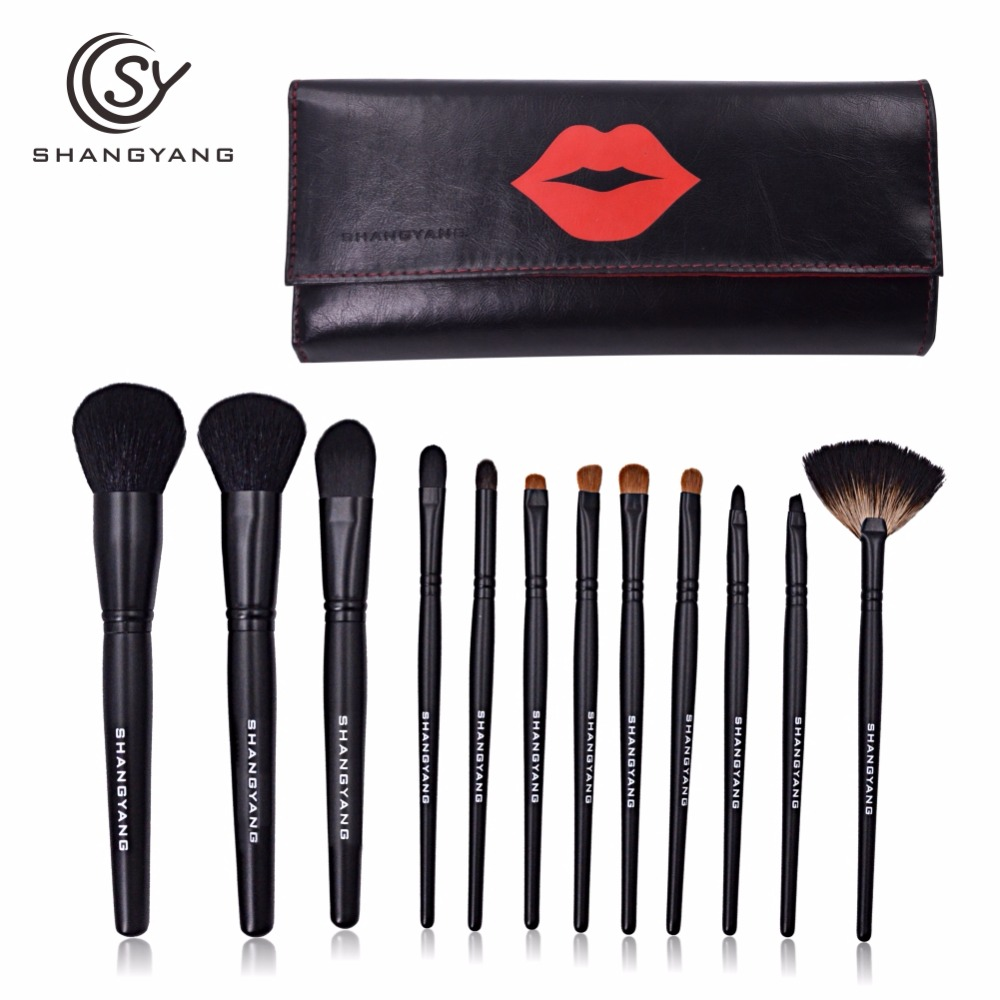 sy Professional Makeup Brush Set 12pcs High Quality Makeup Tools Kit with nice leather bag beauty essential brush set professional makeup brush set 12pcs high quality makeup tools