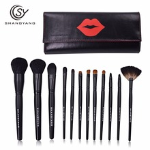 sy Professional Makeup Brush Set 12pcs High Quality Makeup Tools Kit with nice leather bag beauty essential brush set