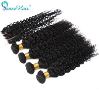 Panse Hair Burmese Kinky Curly Human Hair Weaving Customized 8 To 28 Inches Hair 4 Bundles Hair Weft With Closure 4X4 Non Remy