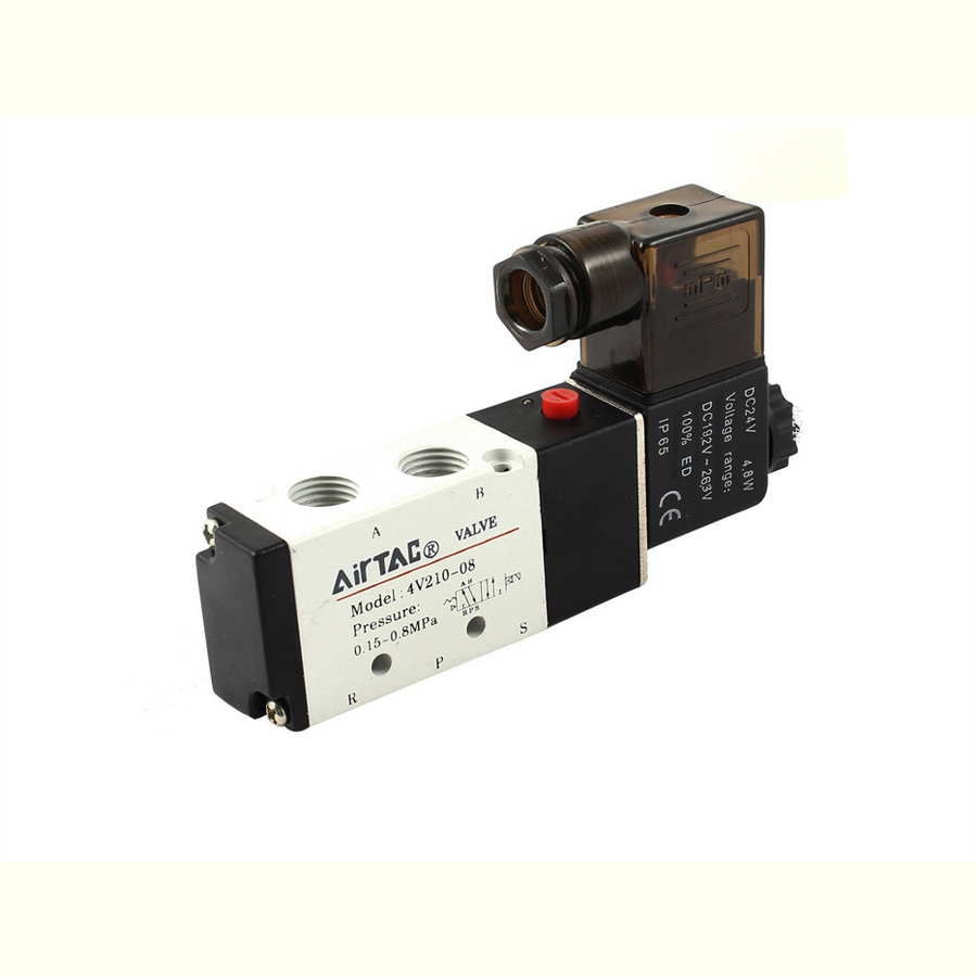 1/4  airtac air solenoid valves 4v210-08 dc24v 2 position 4 way 5 port pneumatic control valve 2pcs free shipping 2 position 5 port air solenoid valves 4v210 08 pneumatic control valve dc12v dc24v ac36v ac110v 220v 380v