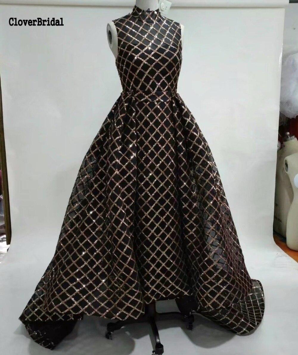 Ostatnie Emiraty hot Wysoka neck Bez Rękawów z Mermaid 2017 Czarne Długie Glitter Dress ze Zdejmowanym Linii Kaplica pociąg Overskirts