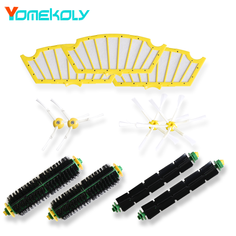 Bristle & Flexible Beater Brush Side Brush Filter kit for iRobot Roomba 500 Series 520 530 540 550 560 Vacuum Cleaer Replacement 1 piece robot hepa filter replacement for irobot roomba 500 series 520 530 540 550 560 vacuum cleaner parts