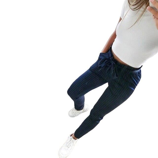 2019 New Striped OL chiffon high waist harem pants women stringyselvedge summer style casual pants female trousers 5